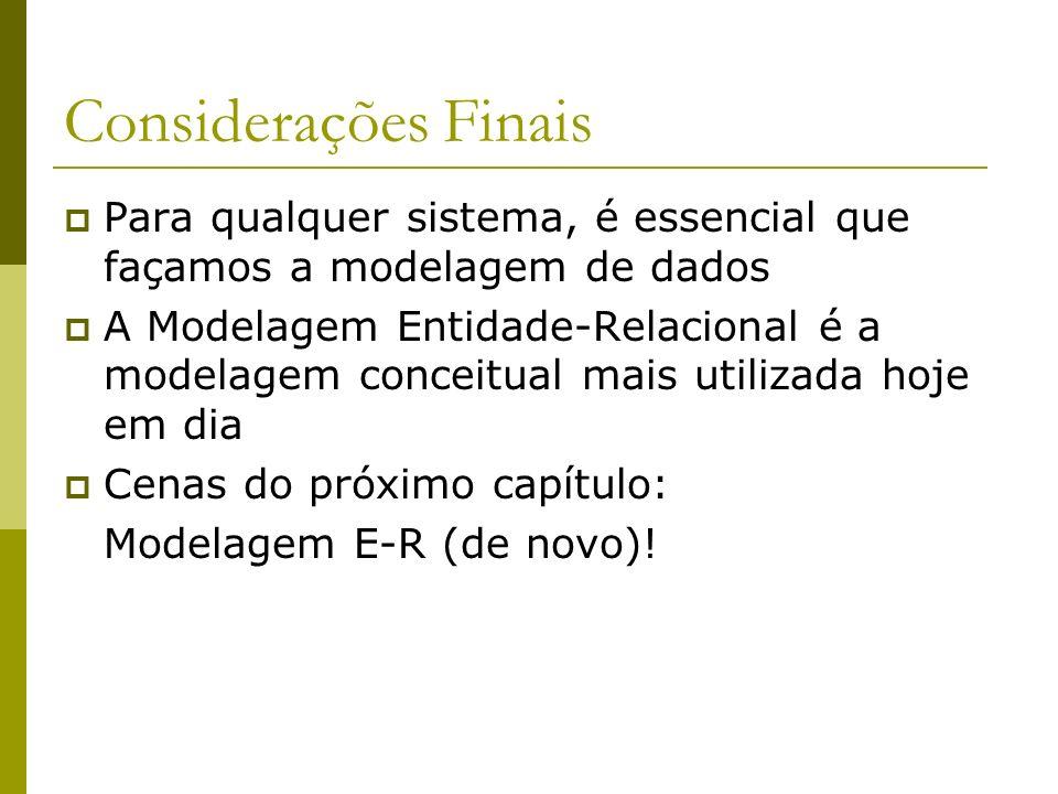 Considerações Finais Para qualquer sistema, é essencial que façamos a modelagem de dados.