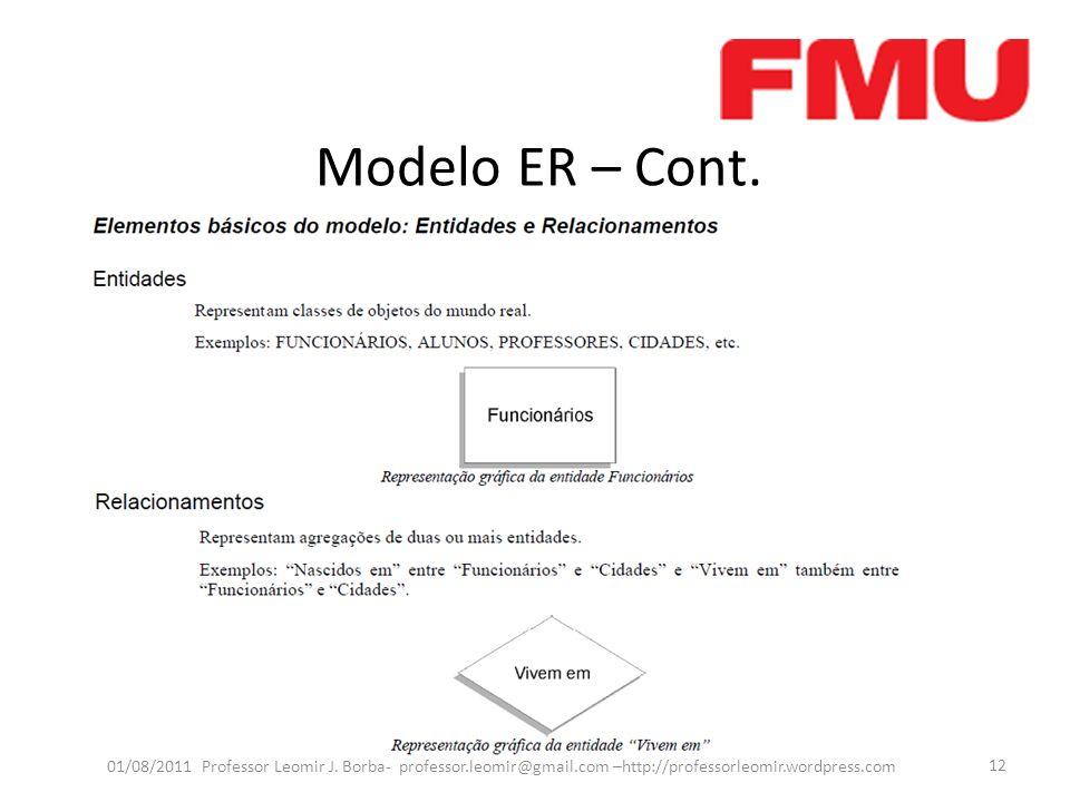 Modelo ER – Cont. Capitulo 7 Navathe, pag 131 em diante