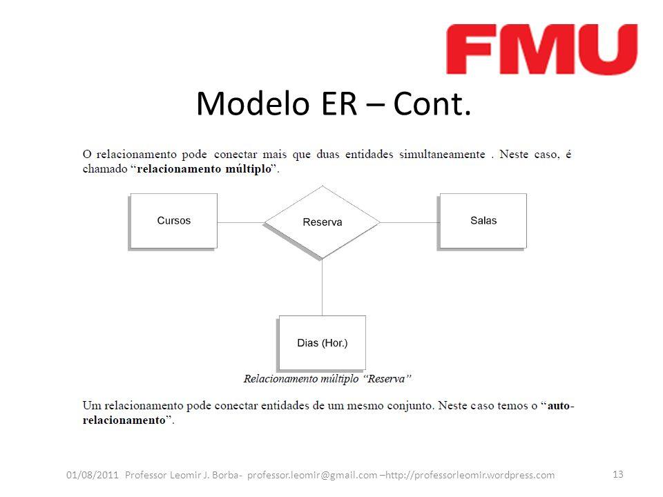 Modelo ER – Cont.Capitulo 7 Navathe, pag 131 até 154, exercicios proxima aula.
