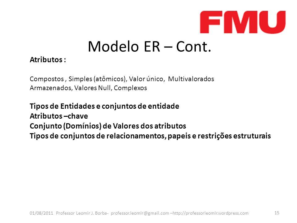Modelo ER – Cont. Atributos :