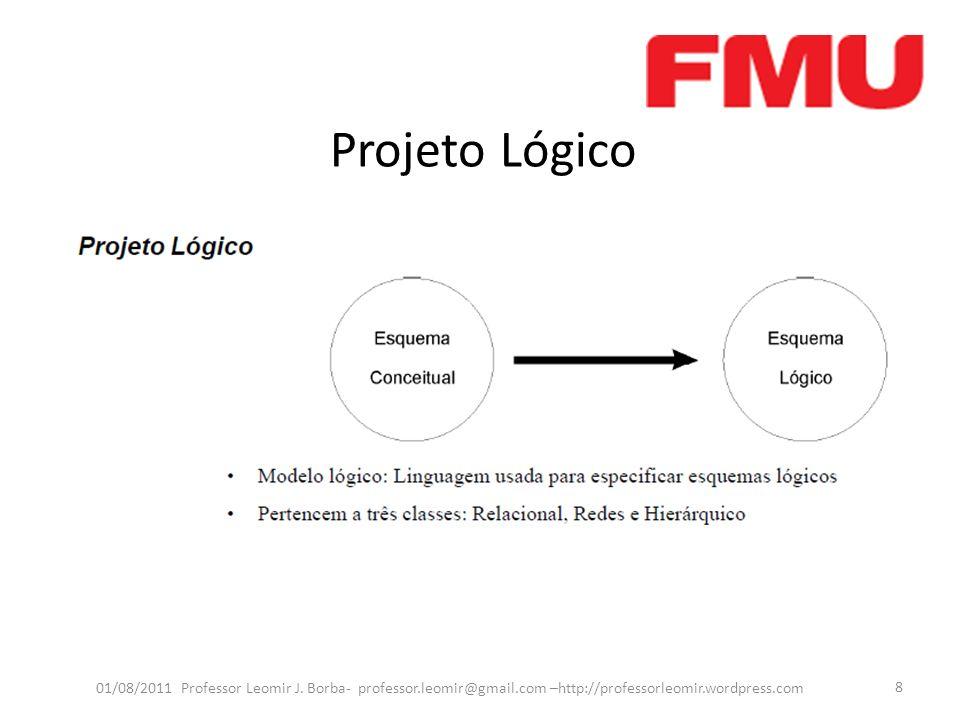 Projeto Lógico O Projeto Lógico de Banco de Dados consiste em criar um modelo lógico de dados a partir do modelo conceitual.