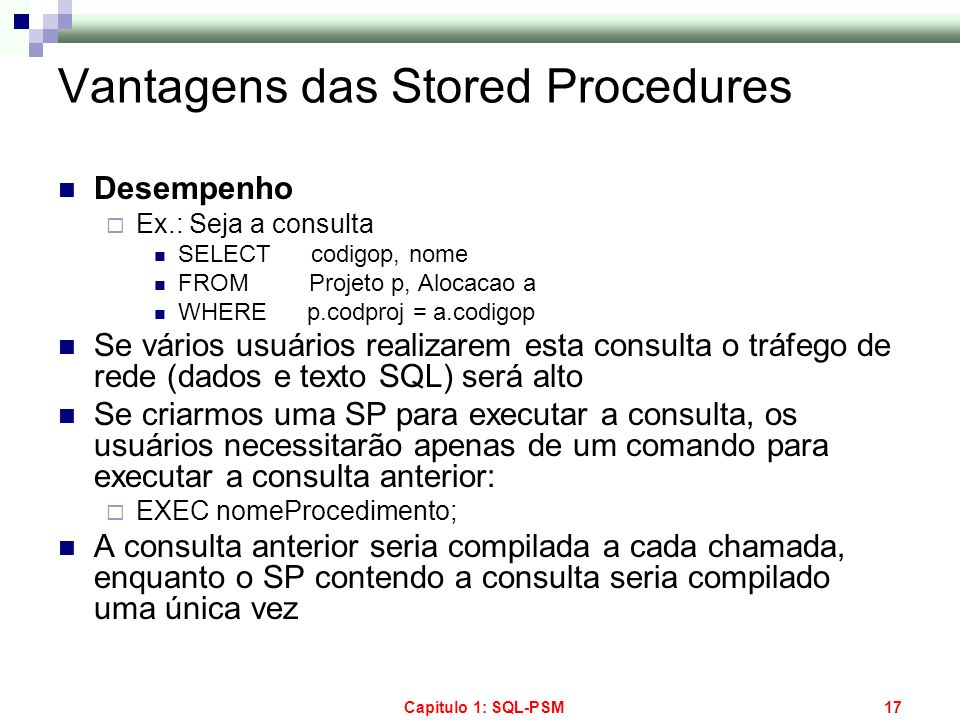 Vantagens das Stored Procedures