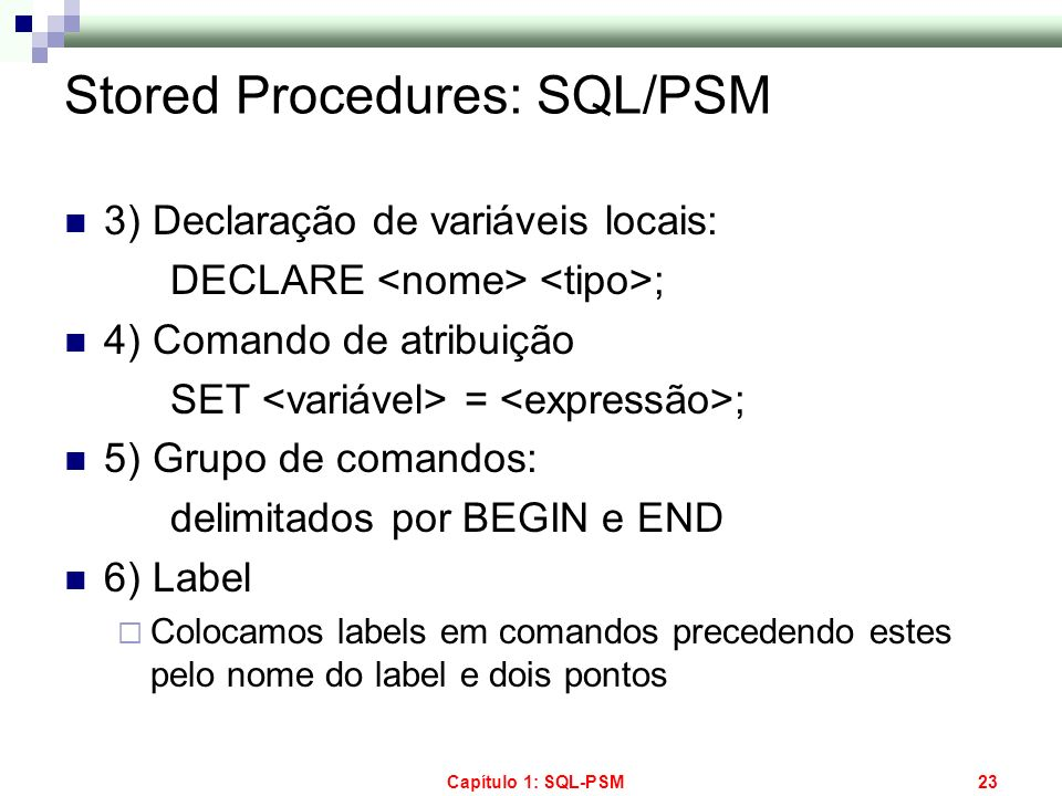 Stored Procedures: SQL/PSM