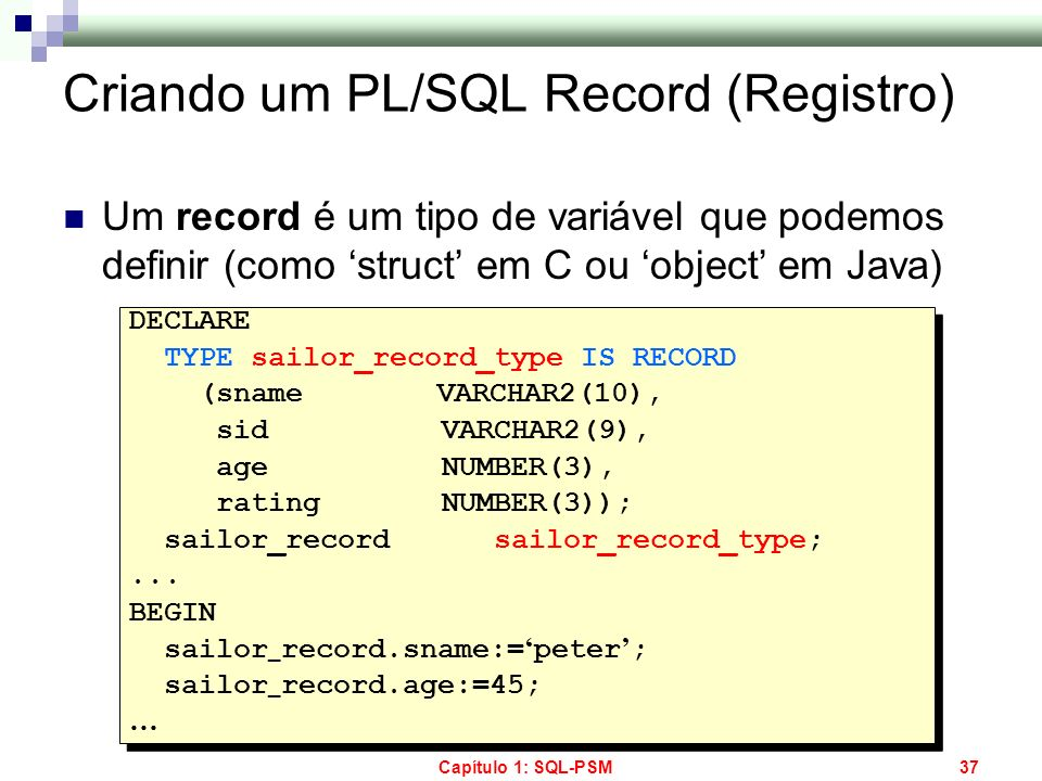Criando um PL/SQL Record (Registro)