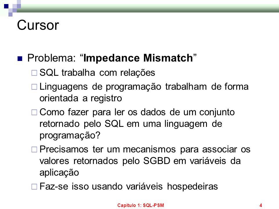 Cursor Problema: Impedance Mismatch SQL trabalha com relações