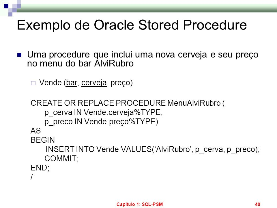 Exemplo de Oracle Stored Procedure