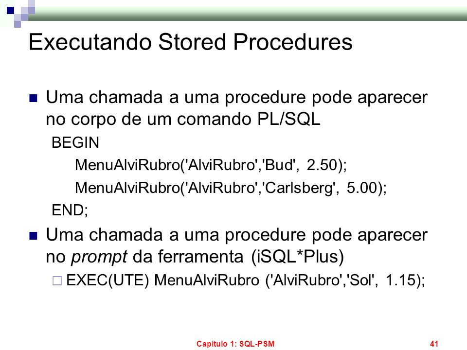 Executando Stored Procedures