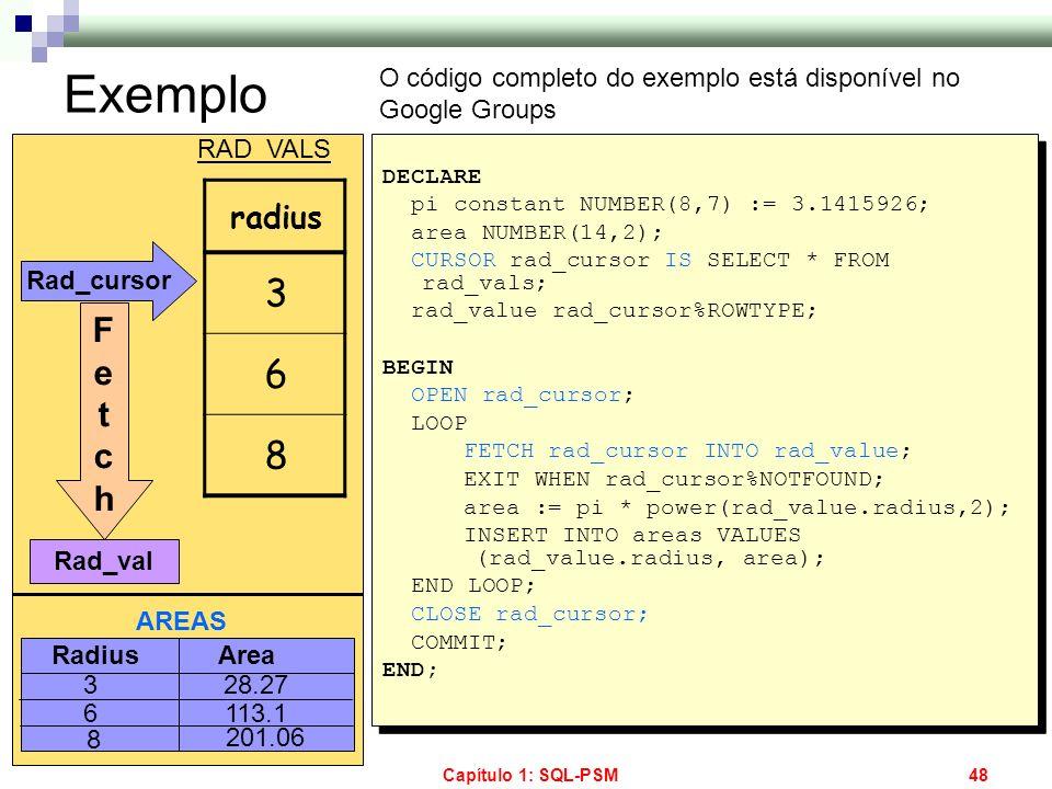 Exemplo O código completo do exemplo está disponível no Google Groups. RAD_VALS. DECLARE. pi constant NUMBER(8,7) := 3.1415926;