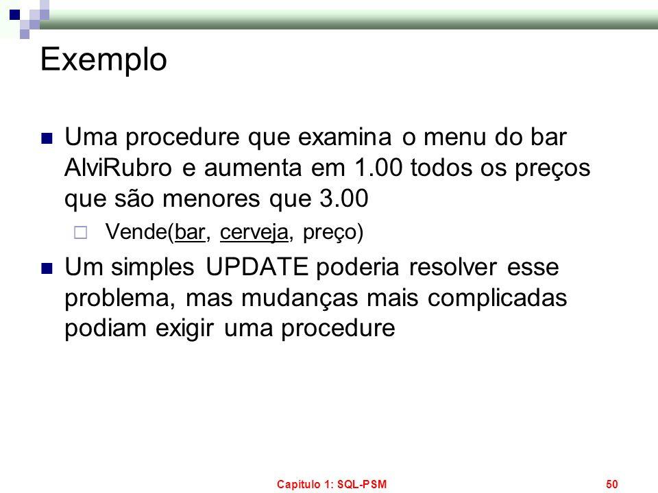 Exemplo Uma procedure que examina o menu do bar AlviRubro e aumenta em 1.00 todos os preços que são menores que 3.00.