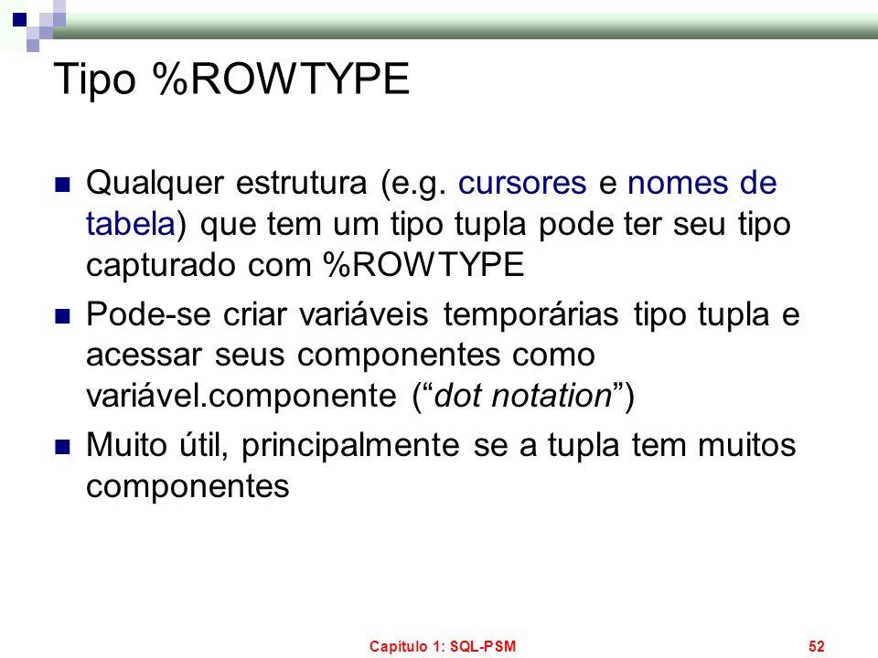 Tipo %ROWTYPE Qualquer estrutura (e.g. cursores e nomes de tabela) que tem um tipo tupla pode ter seu tipo capturado com %ROWTYPE.