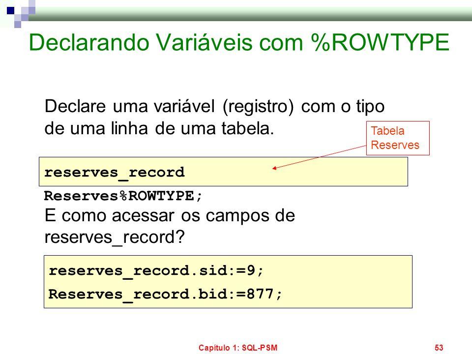 Declarando Variáveis com %ROWTYPE