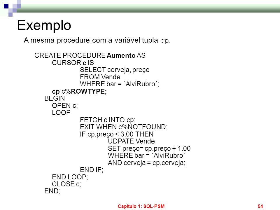 Exemplo A mesma procedure com a variável tupla cp.