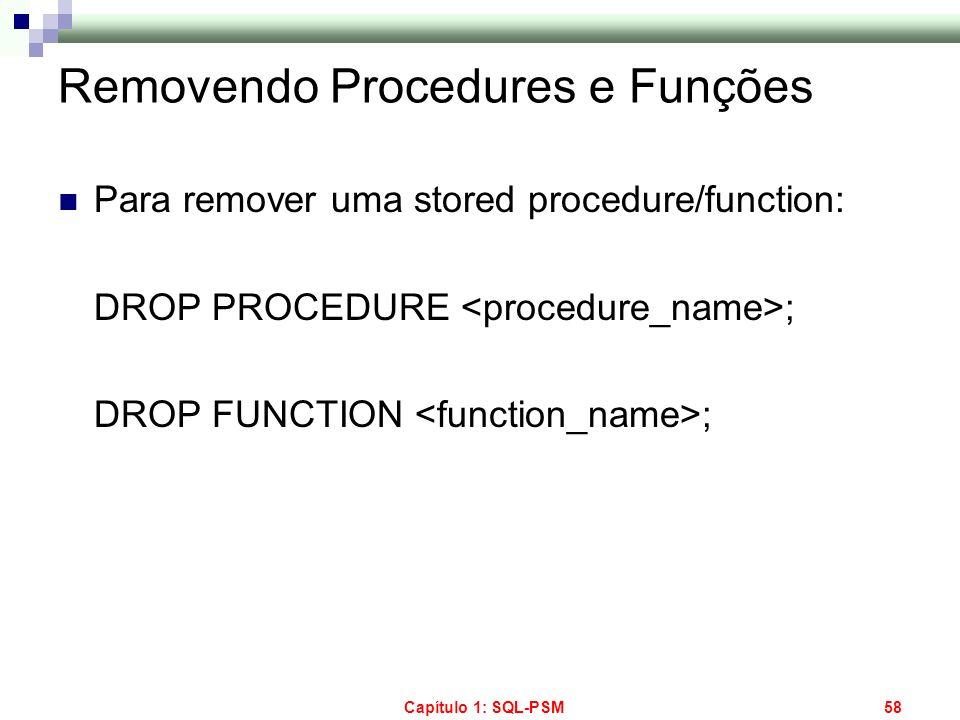 Removendo Procedures e Funções