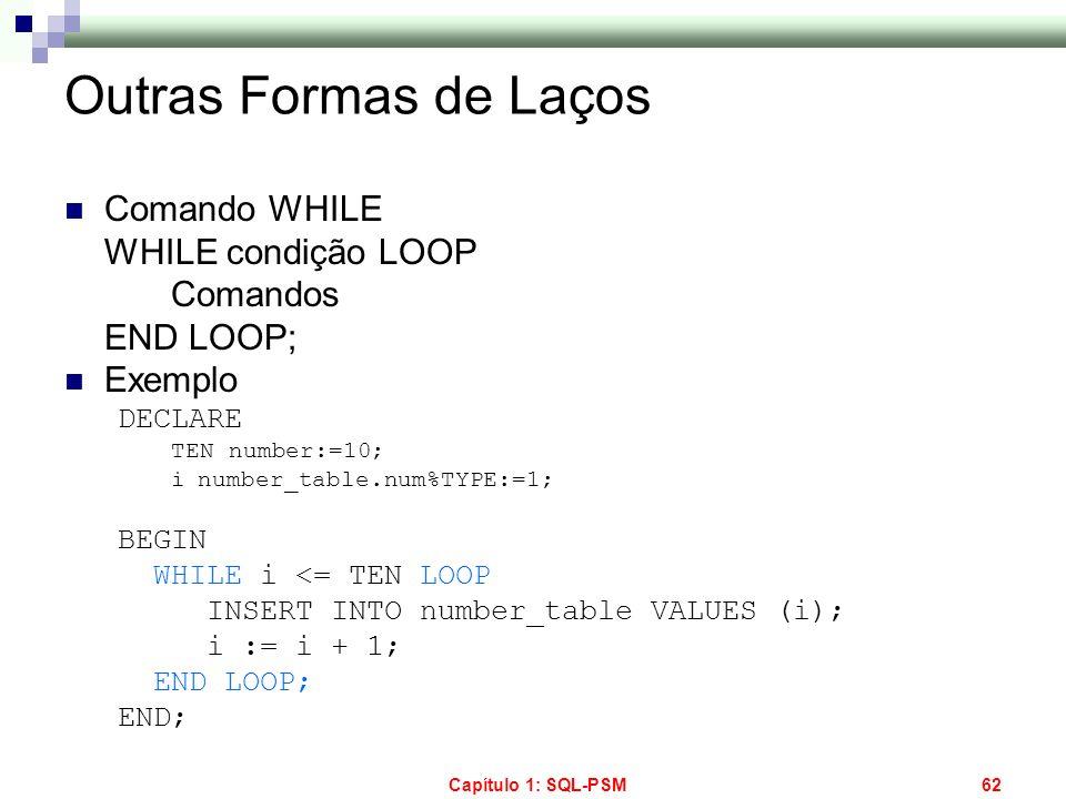 Outras Formas de Laços Comando WHILE WHILE condição LOOP Comandos