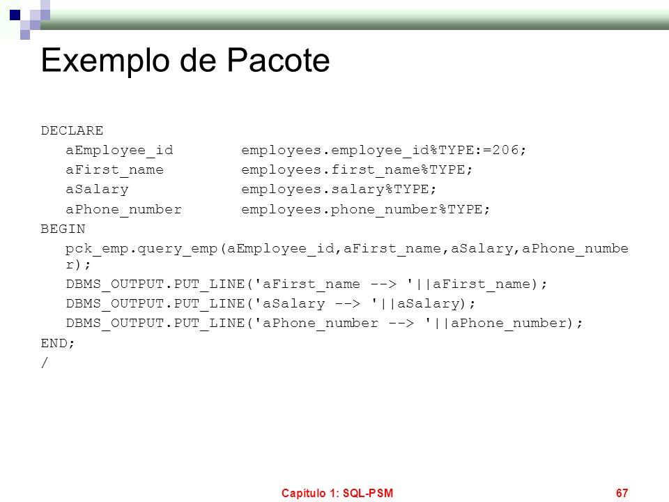 Exemplo de Pacote DECLARE