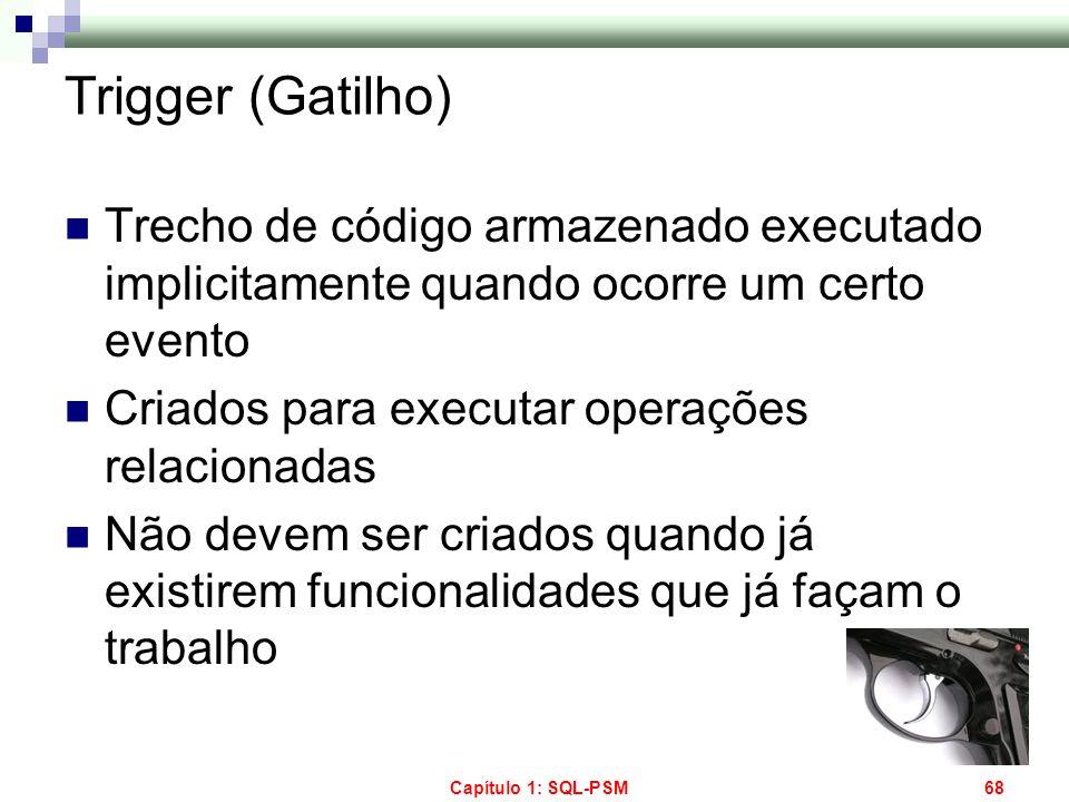 Trigger (Gatilho) Trecho de código armazenado executado implicitamente quando ocorre um certo evento.