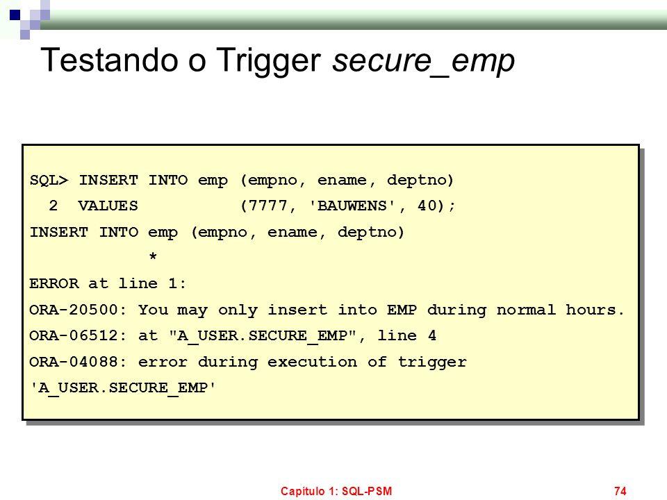 Testando o Trigger secure_emp