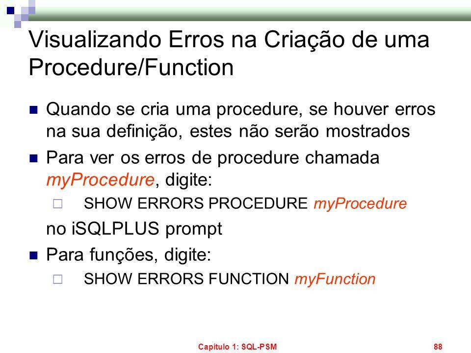 Visualizando Erros na Criação de uma Procedure/Function