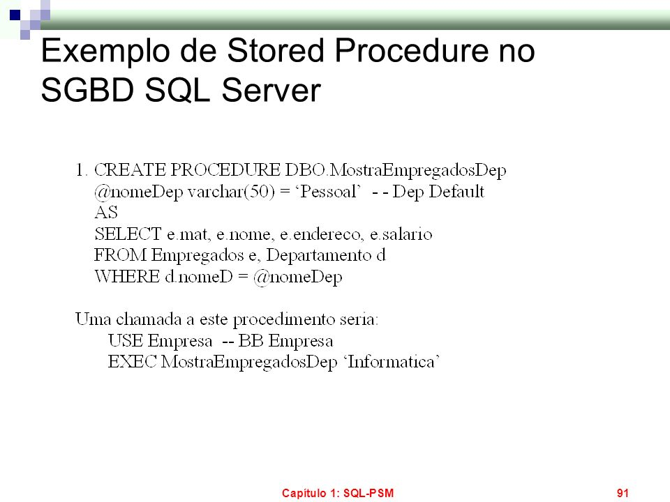 Exemplo de Stored Procedure no SGBD SQL Server