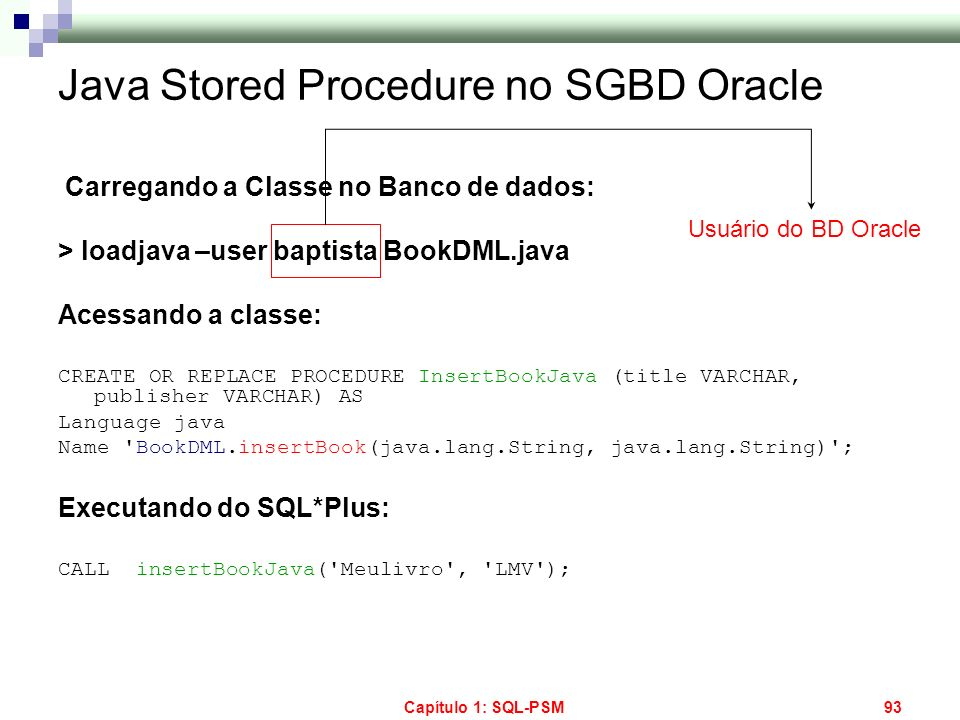 Java Stored Procedure no SGBD Oracle