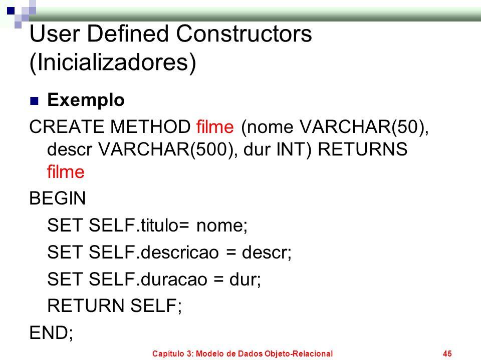 User Defined Constructors (Inicializadores)