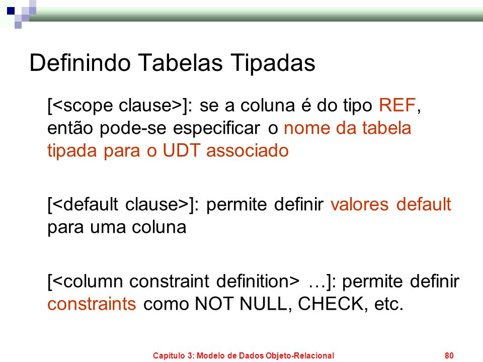 Definindo Tabelas Tipadas