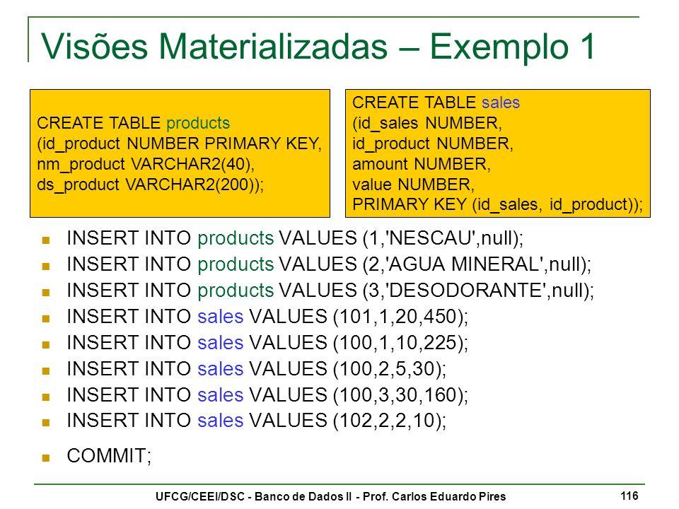 Visões Materializadas – Exemplo 1