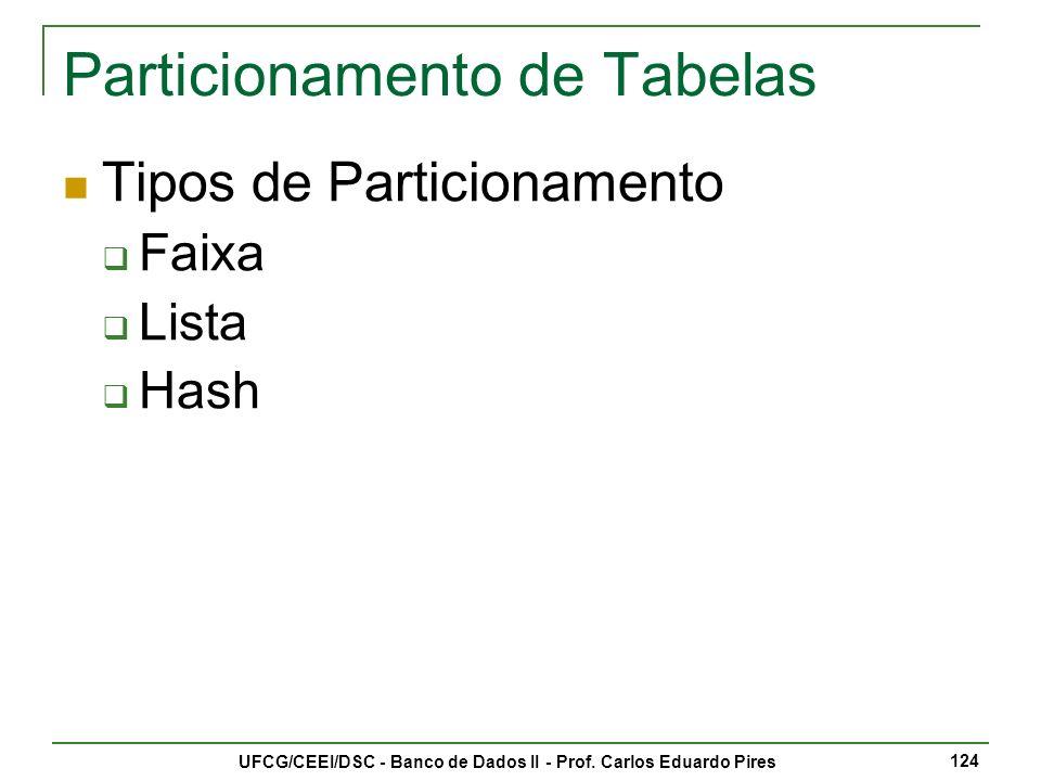 Particionamento de Tabelas