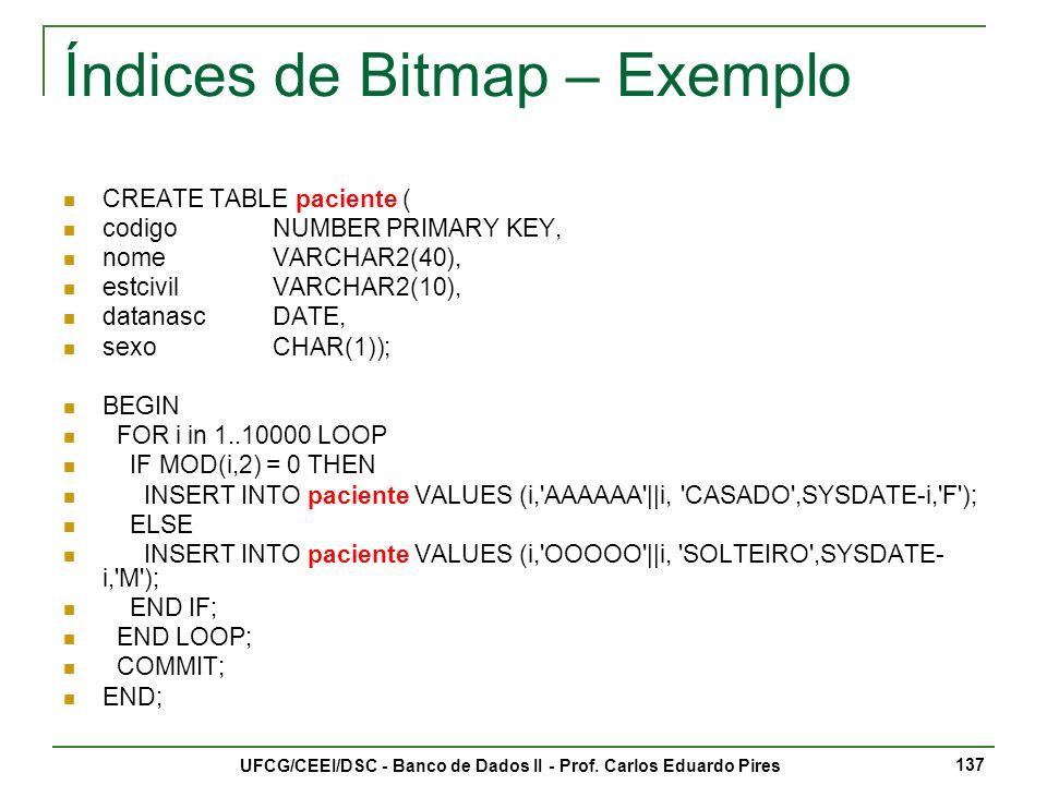 Índices de Bitmap – Exemplo