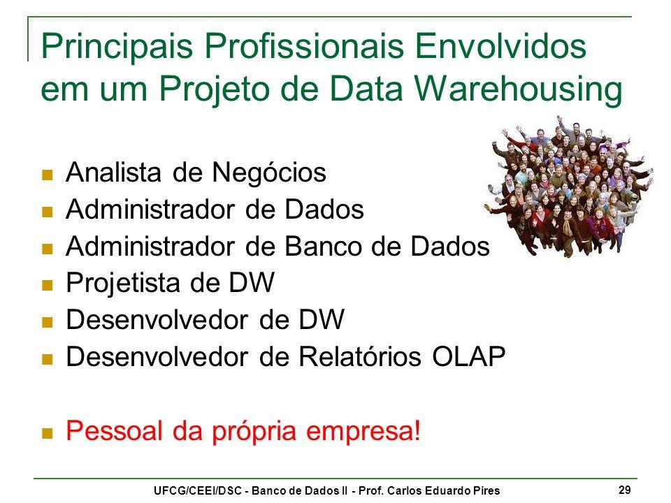 Principais Profissionais Envolvidos em um Projeto de Data Warehousing