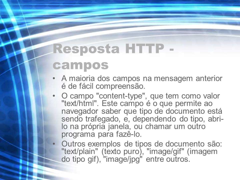Resposta HTTP - campos A maioria dos campos na mensagem anterior é de fácil compreensão.