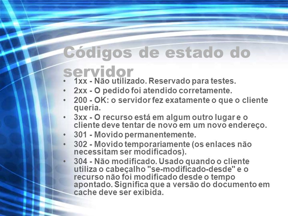 Códigos de estado do servidor