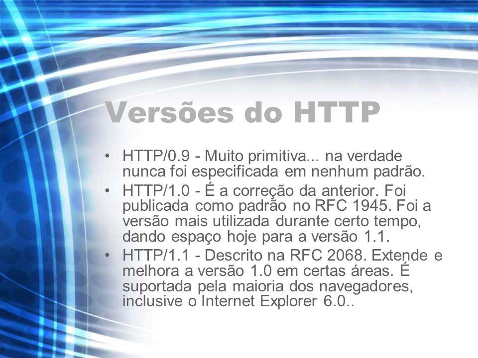 Versões do HTTPHTTP/0.9 - Muito primitiva... na verdade nunca foi especificada em nenhum padrão.