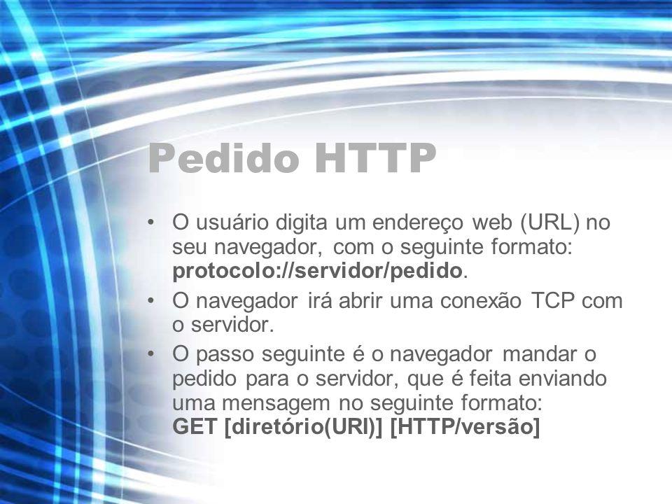 Pedido HTTP O usuário digita um endereço web (URL) no seu navegador, com o seguinte formato: protocolo://servidor/pedido.