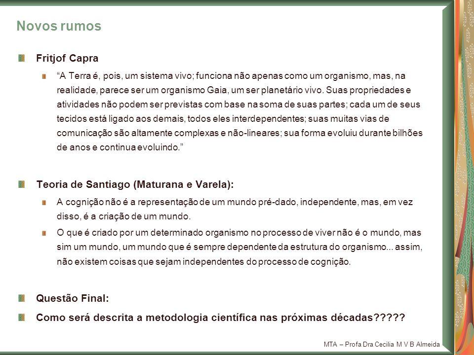 Novos rumos Fritjof Capra Teoria de Santiago (Maturana e Varela):