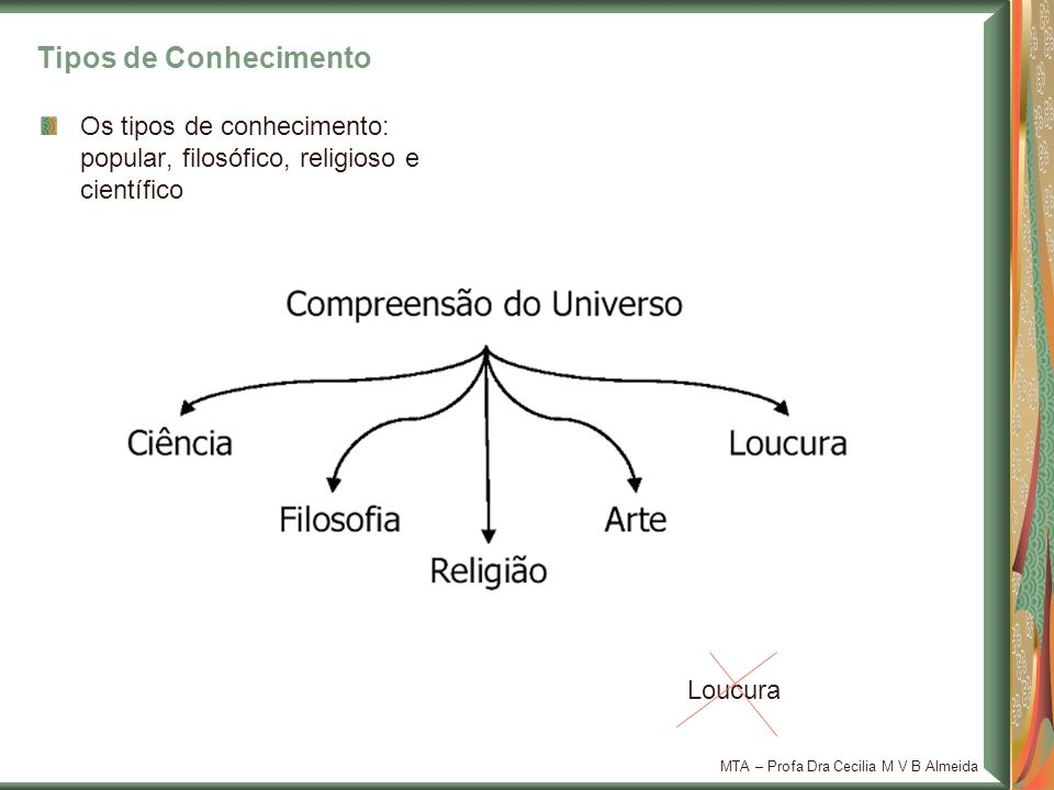 Tipos de Conhecimento Os tipos de conhecimento: popular, filosófico, religioso e científico. Loucura.