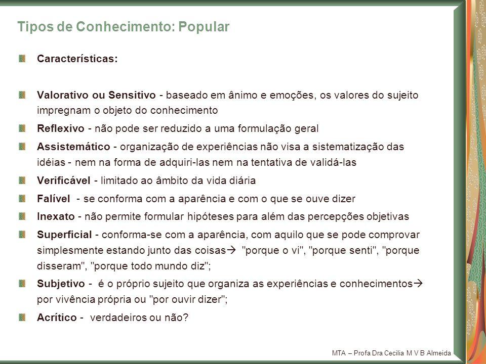 Tipos de Conhecimento: Popular