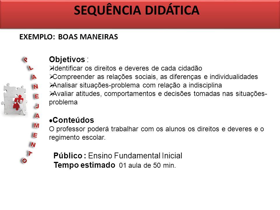 SEQUÊNCIA DIDÁTICA EXEMPLO: BOAS MANEIRAS Objetivos :