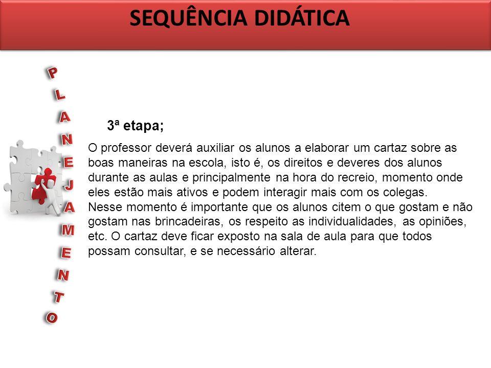 SEQUÊNCIA DIDÁTICA PLANEJAMENTO 3ª etapa;