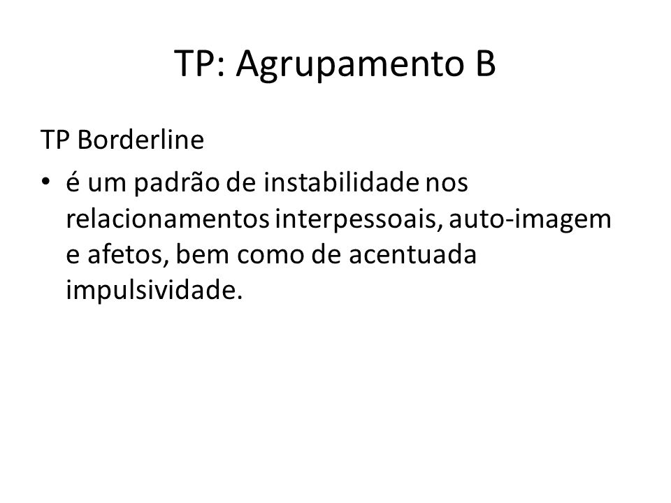 TP: Agrupamento B TP Borderline