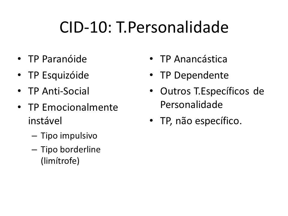 CID-10: T.Personalidade TP Paranóide TP Esquizóide TP Anti-Social