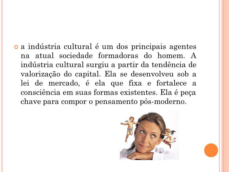 a indústria cultural é um dos principais agentes na atual sociedade formadoras do homem.