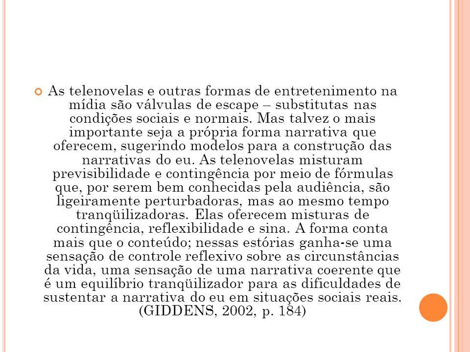 As telenovelas e outras formas de entretenimento na mídia são válvulas de escape – substitutas nas condições sociais e normais.