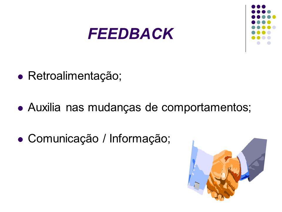 FEEDBACK Retroalimentação; Auxilia nas mudanças de comportamentos;
