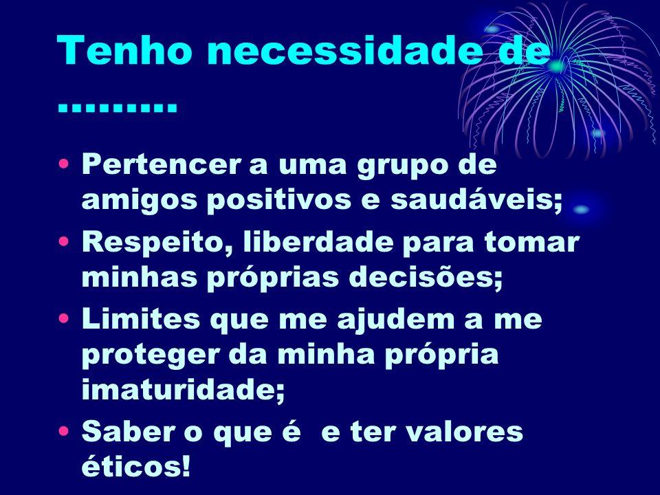 Tenho necessidade de ......... Pertencer a uma grupo de amigos positivos e saudáveis; Respeito, liberdade para tomar minhas próprias decisões;