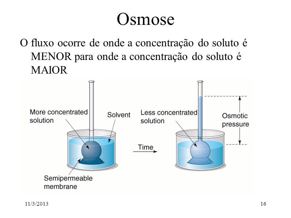 Osmose O fluxo ocorre de onde a concentração do soluto é MENOR para onde a concentração do soluto é MAIOR.