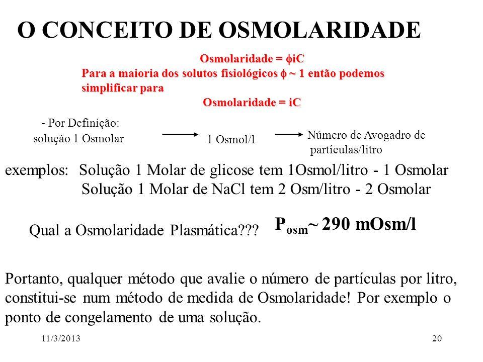 O CONCEITO DE OSMOLARIDADE