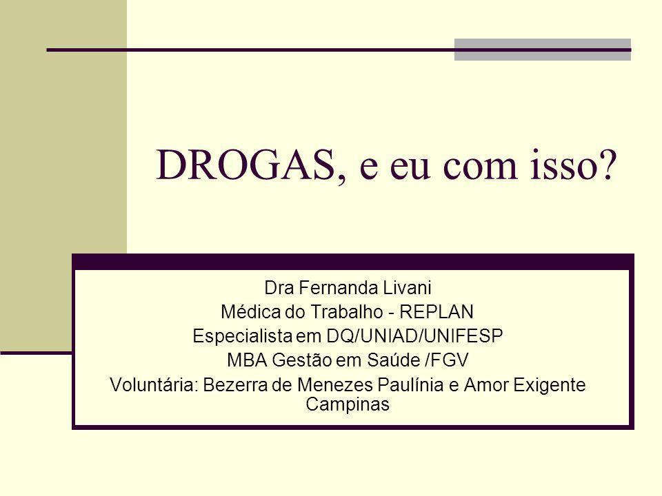 DROGAS, e eu com isso Dra Fernanda Livani Médica do Trabalho - REPLAN