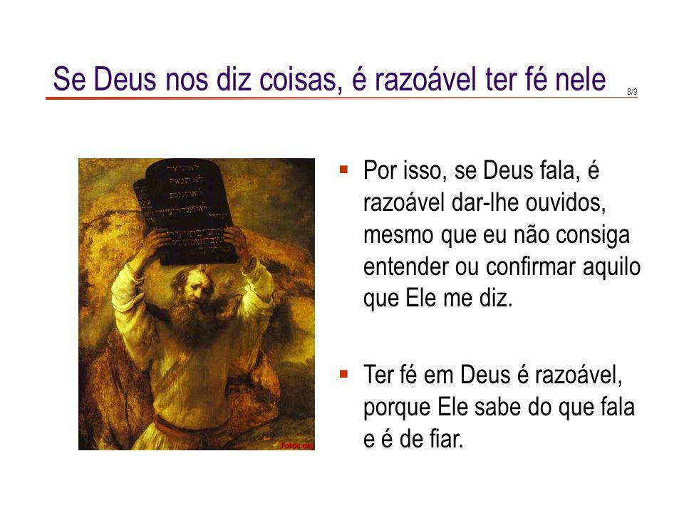 Se Deus nos diz coisas, é razoável ter fé nele
