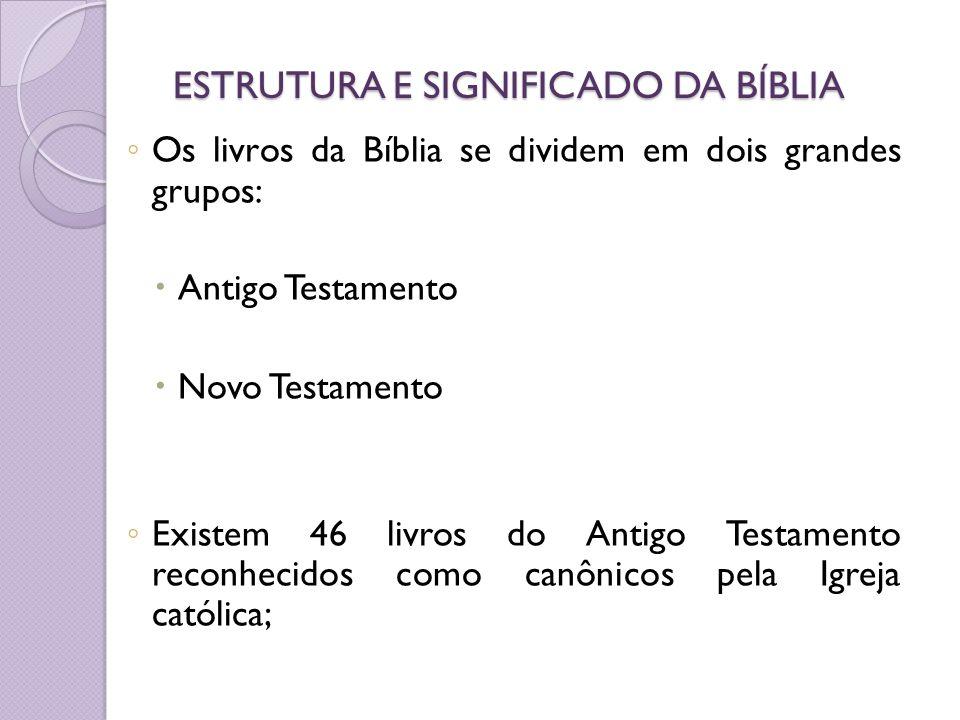 ESTRUTURA E SIGNIFICADO DA BÍBLIA